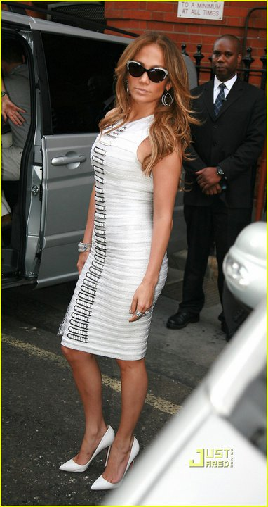 Jennifer Lopez white Herve Leger dress
