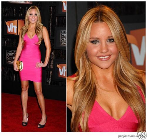 Herve Leger pink dress celebrity