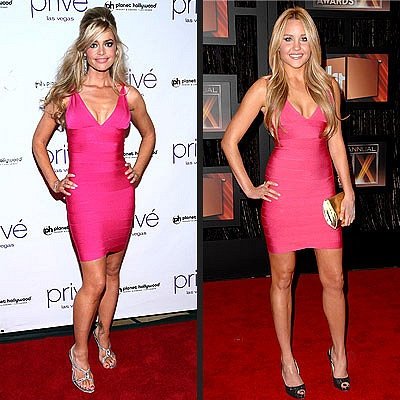 Herve Leger pink dress celebrity