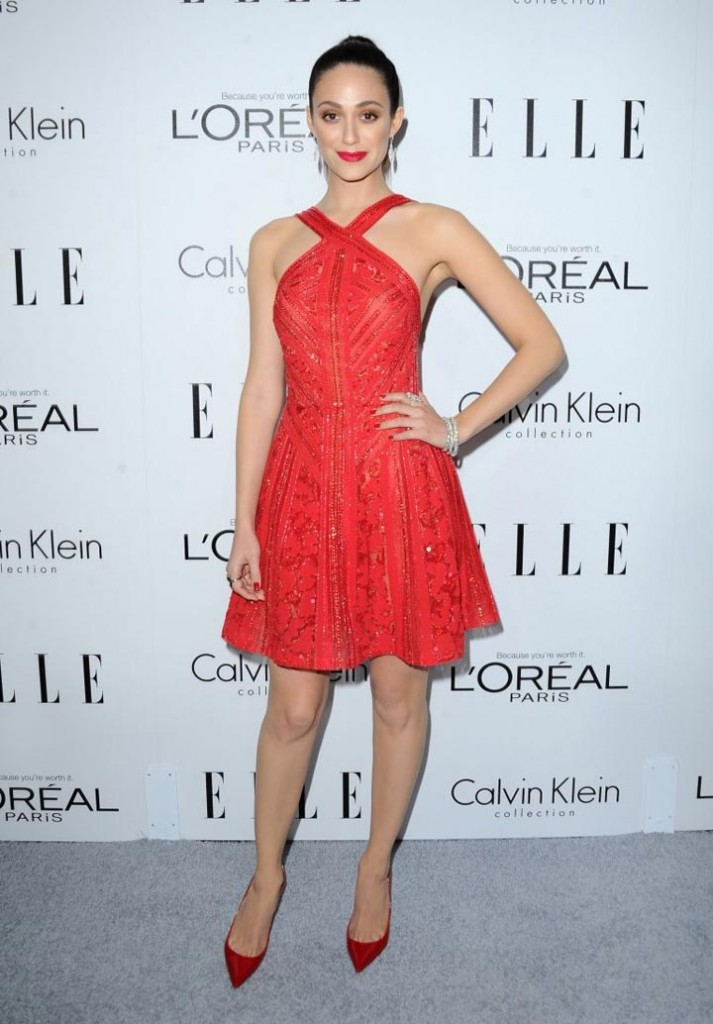 Emmy Rossum red dress