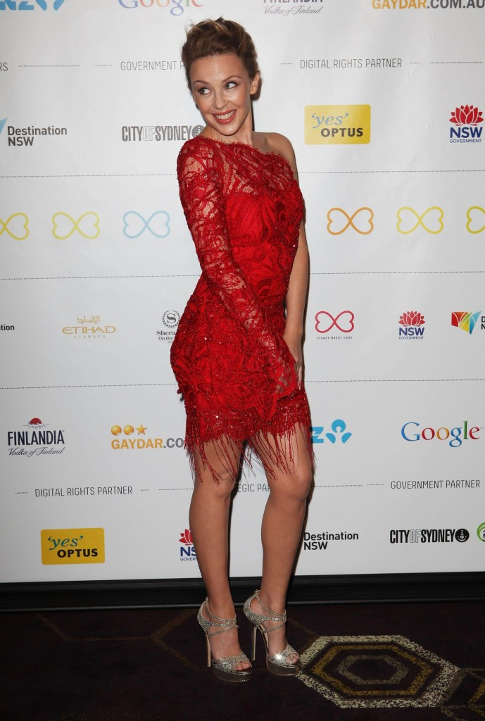 Kylie Minogue red dress
