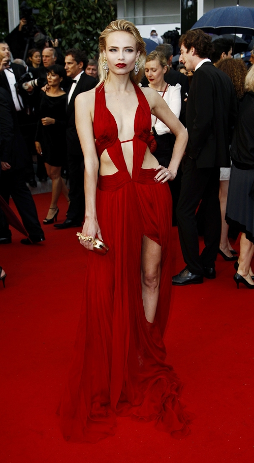 Natasha Poly red dress