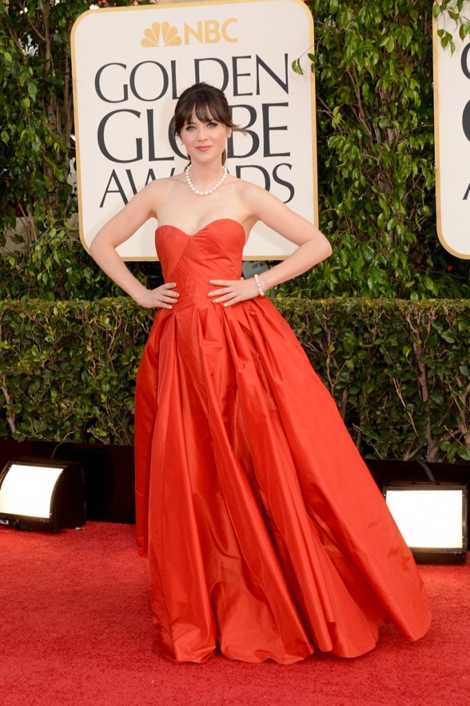 Zooey Deschanel red dress