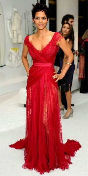 halle berry red dress