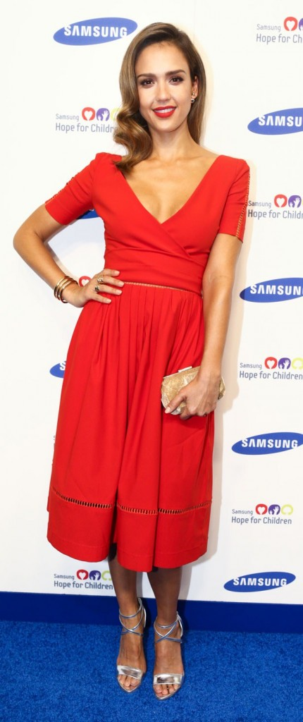 jessica alba red dress